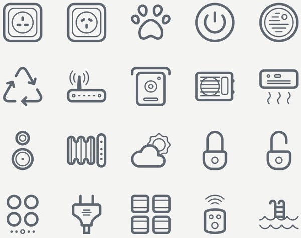 Free Download : Smart House Icon Set (SVG, EPS, PNG, Sketch)