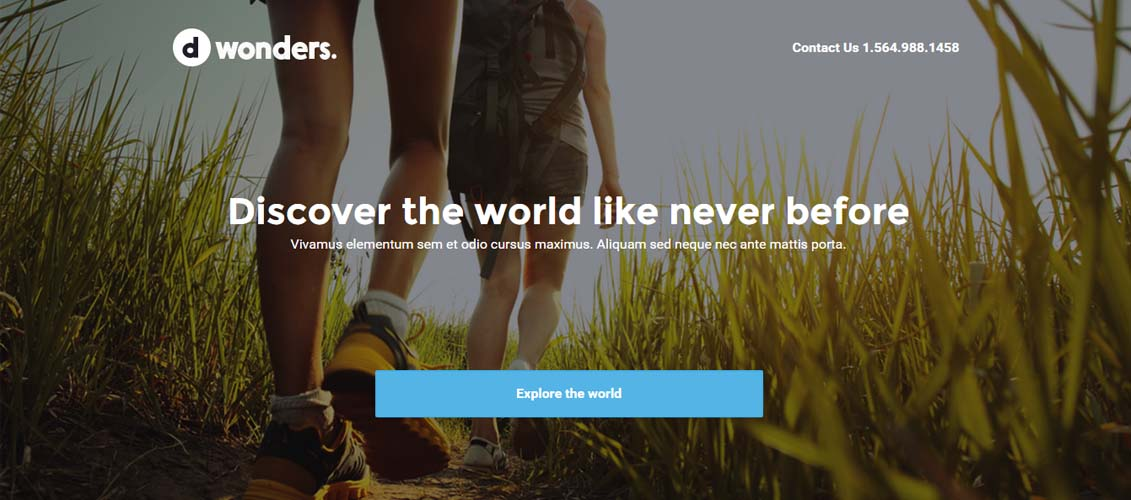 Dwonders Travel Landing Page For Unbounce