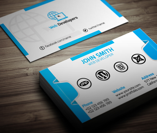 Free Web Developer Business Card PSD Template