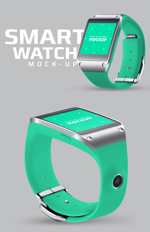 Square smart watch mockup, based on Samsung Galaxy Gear