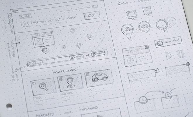 early wireframe sketches notebook