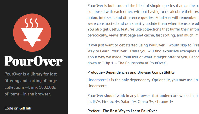 filtering sorting library javascript pourover
