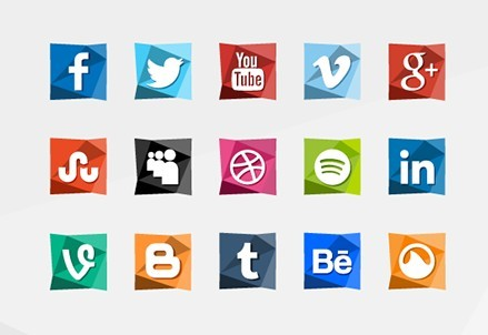 15 Polygon Social Icons PSD+PNG