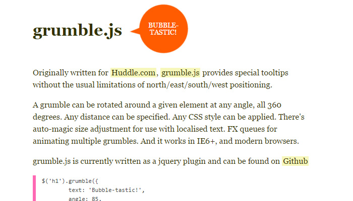grumble js javascript plugin