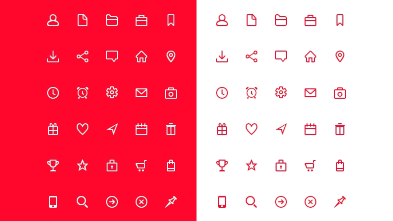 30 Free Sharp Outlined Icons