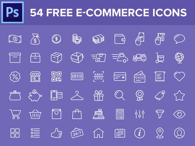 54 E-commerce Line Icons PSD