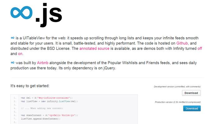 infinity js open source plugin