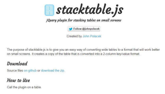 stacktable js open source plugin
