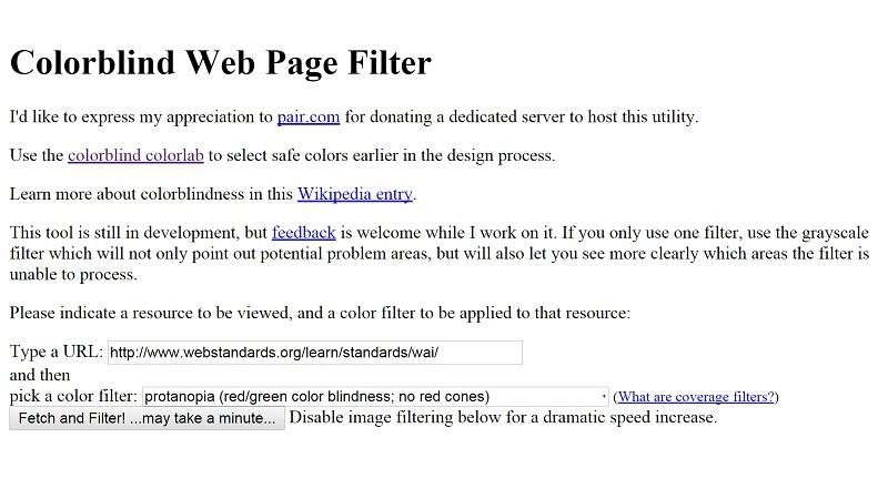 Color Blind Web Page Filter