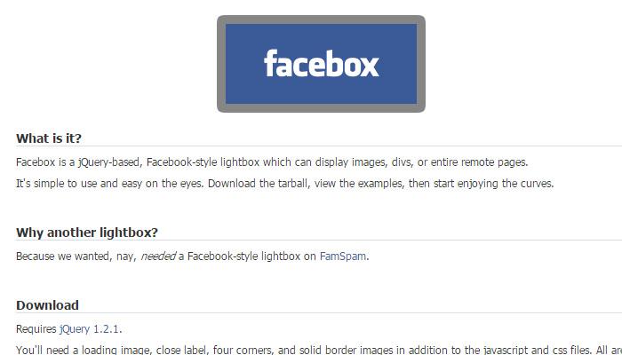 facebook style lightbox plugin facebox