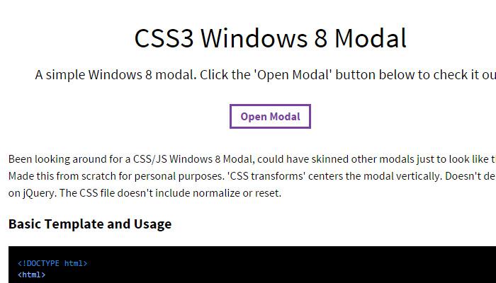 win8 modal window
