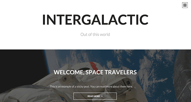 Intergalactic single-column theme distraction-free environment reading content