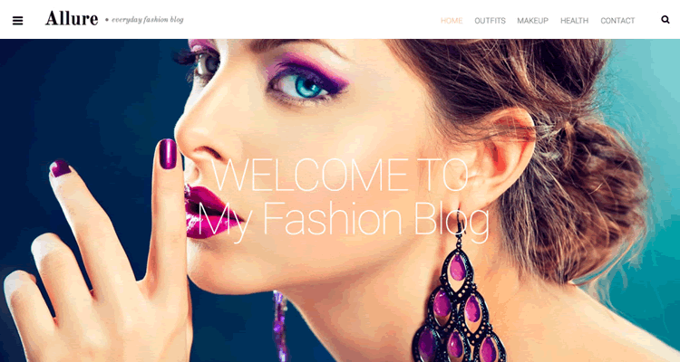 Allure wordpress theme specifically built fashion bloggers photographers