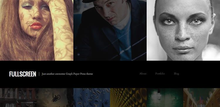 One-column photography new responsive free WordPress themes Fullscreen