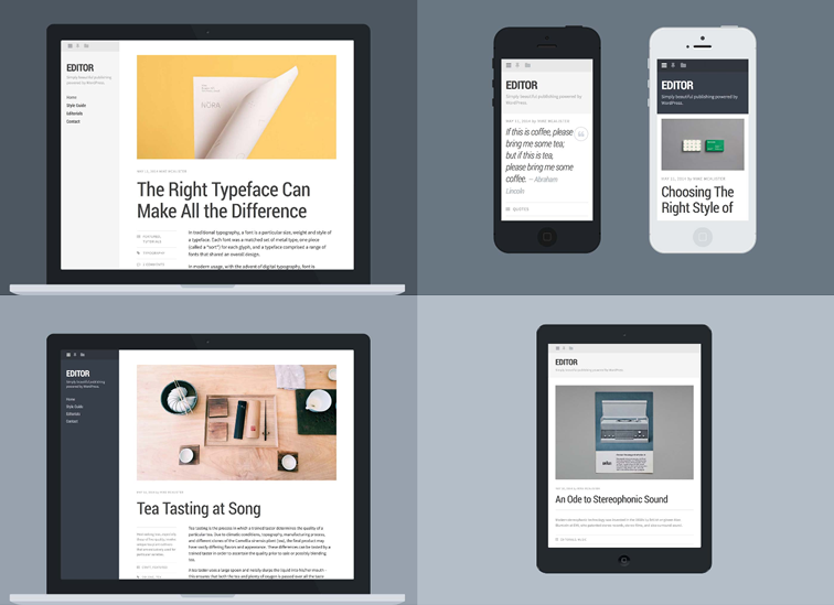 Editor, a typography-driven theme for writers and bloggers