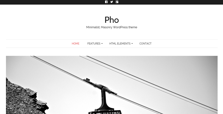 Pho, a minimalist gallery-style masonry theme for designers and photographers