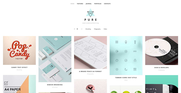 Pure, a simple and playful theme for creative professionals