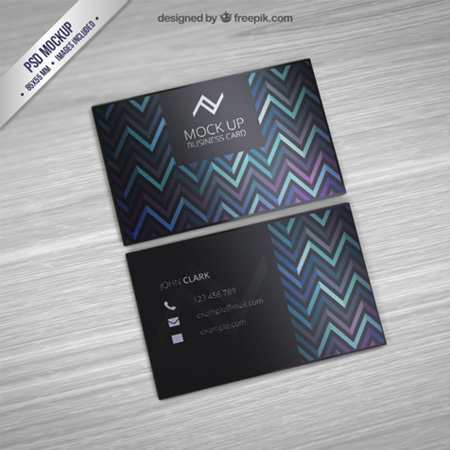 Business-card-mockup-with-zigzag-pattern