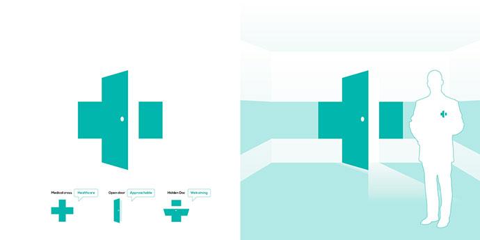 Open door, medical cross logo