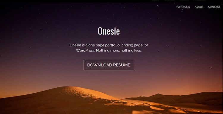 Landing page new free responsive WordPress themes Onesie