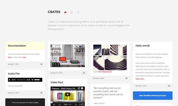 Tumblog-style new responsive free WordPress themes Crates