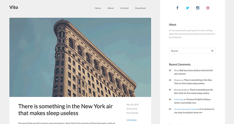 Vito clean spacious theme bloggers