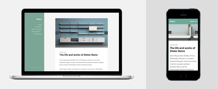 Rams, a clean and minimalist theme with plenty of style for bloggers