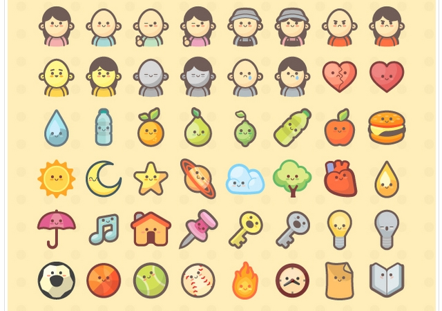 300 Kawaii-style Icons and Avatars for Kids