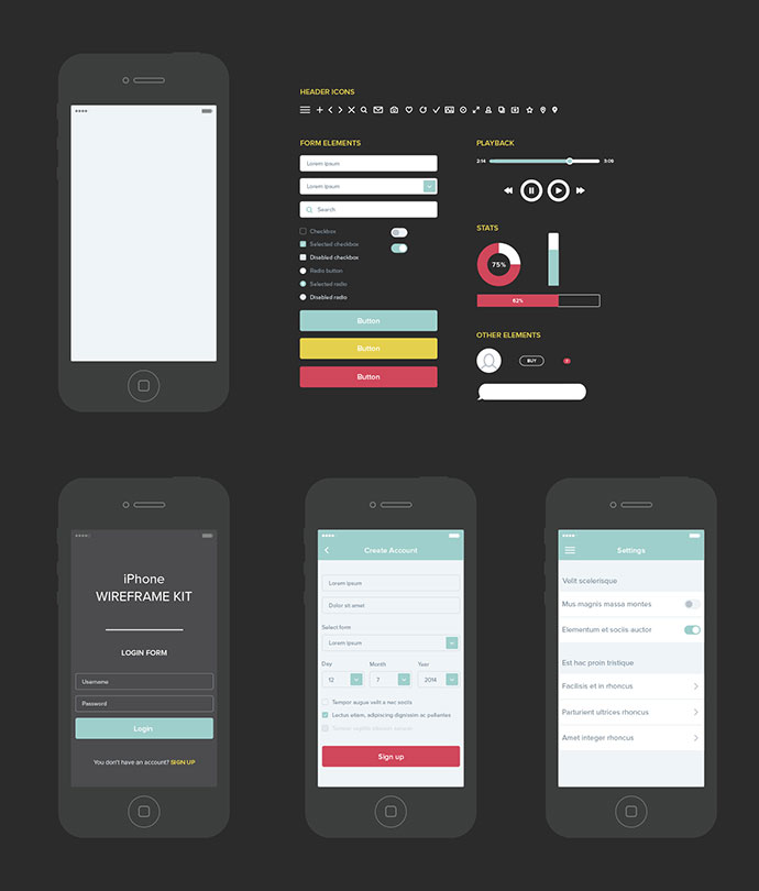 UX Wireframe Set
