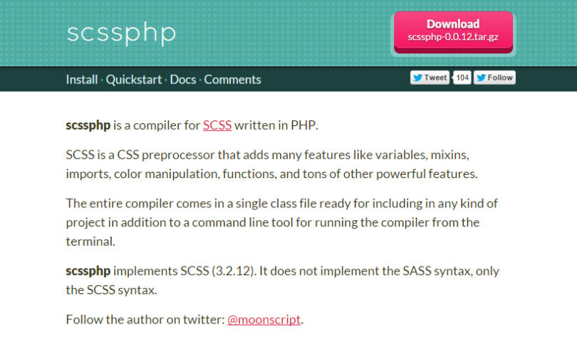 Scssphp: A CSS Preprocessor Compiler in PHP