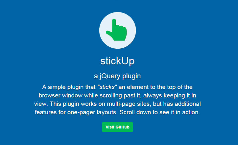 StickUp: JQuery Element Screen-top Sticking Plugin