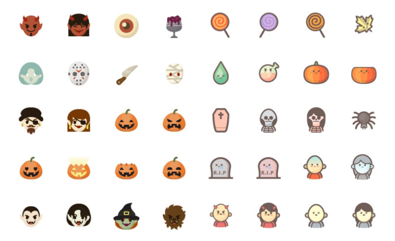 An Amazing Set of 150 Halloween Kawaii & Flat Icons