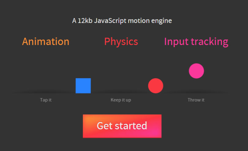Popmotion: JavaScript Physics and Input Tracking Animation