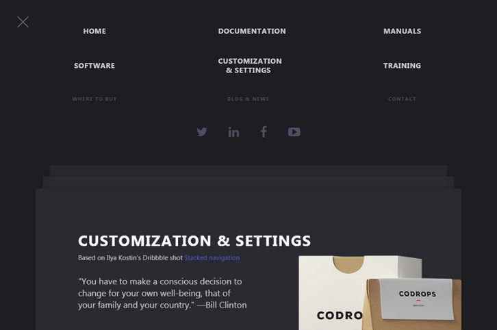 Page Stack Navigation Template with CSS & JavaScript
