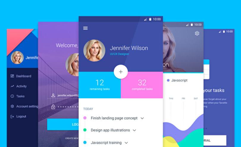 Material Design Mobile Screens Set