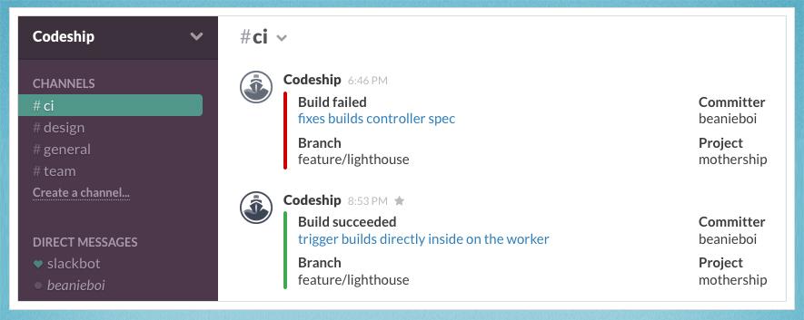 Codeship on Slack
