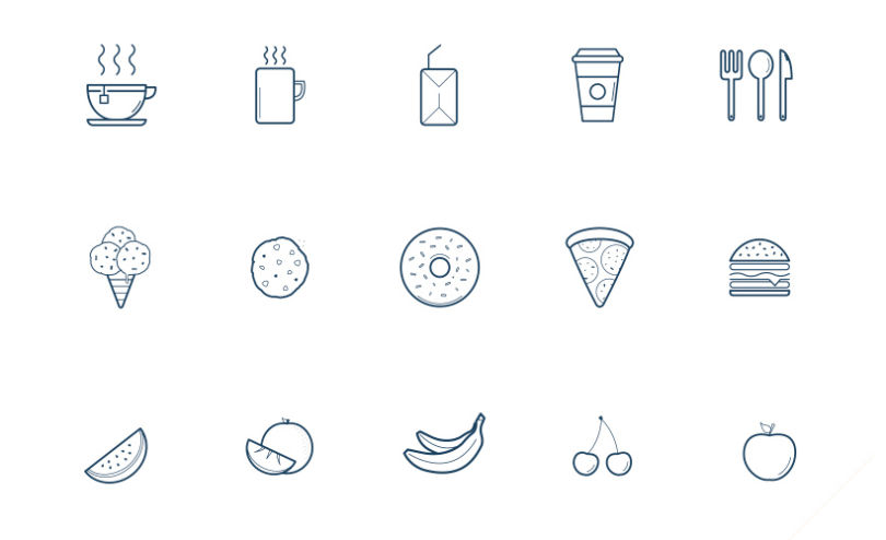 Line Kitchen Related Ai Icons