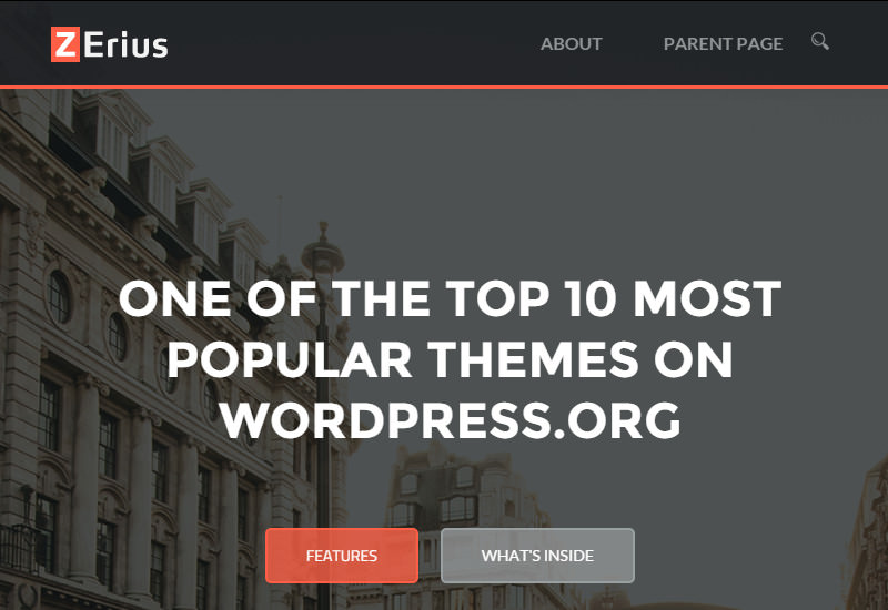 Zerius: Parallax Background WordPress Theme