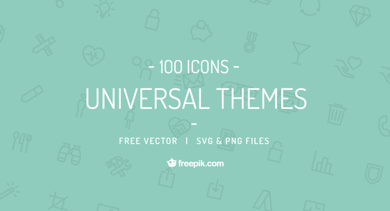 universal themes free icon Set scalabe editable details