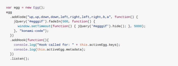 egg.js - simple javascript library to add easter eggs to web pages