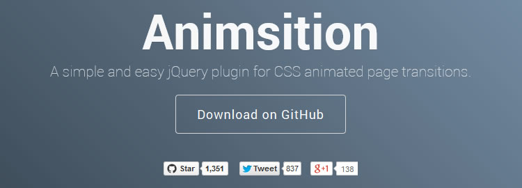 Animsition - simple and easy jQuery plugin for CSS animated page transitions