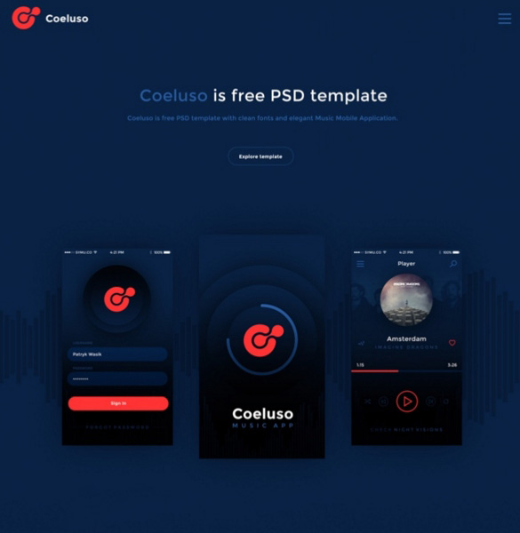 Coeluso: Music Mobile App PSD Template