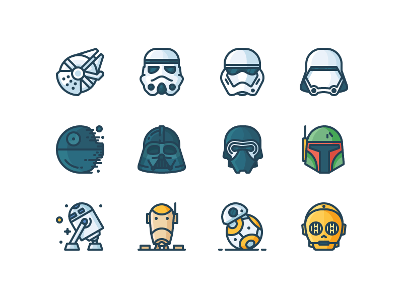 Star Wars Filled Icons