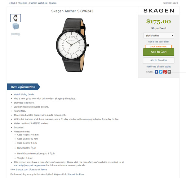 Zappos Skagen Watch product page