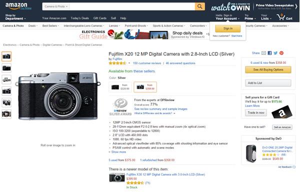Amazon Fuji Camera product page