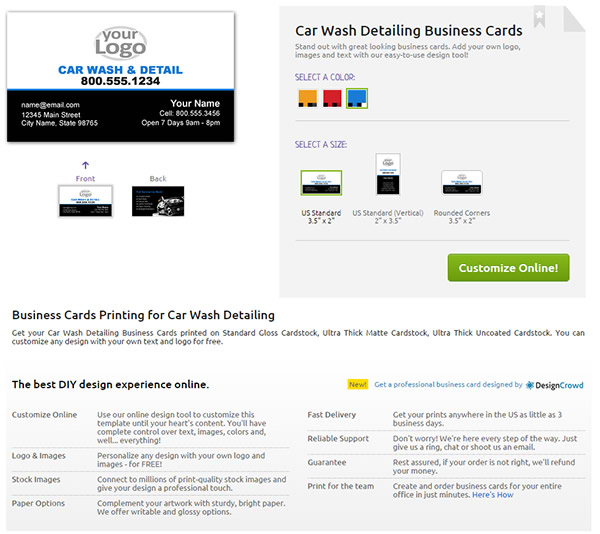 YouPrint – Business Card product page