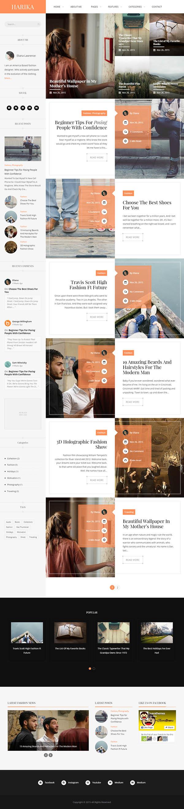 Harika | Clean Personal WordPress Blog Theme