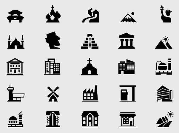 Free Building & Landmark Icons (50 Icons)