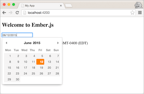 A Pikaday date-picker rendered as an Ember component