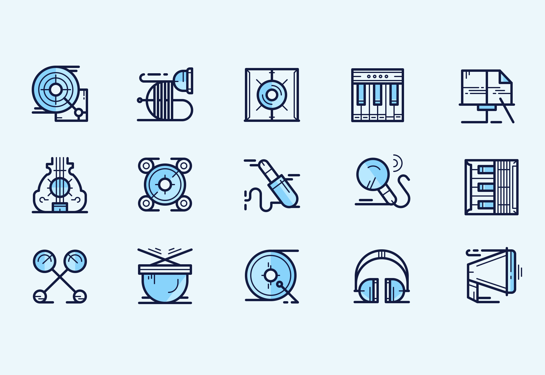 Music Icons: Multi-weight Line Style Icons